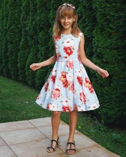 Sukienka w malowane kwiaty 86-158 Marieta niebiesko-czerwona