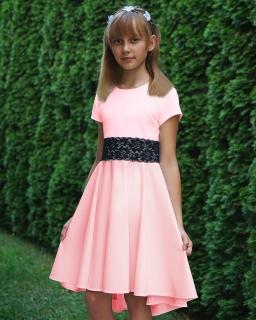 Sukienka z dłuższym tyłem 140-164 Elwira pudrowy róż