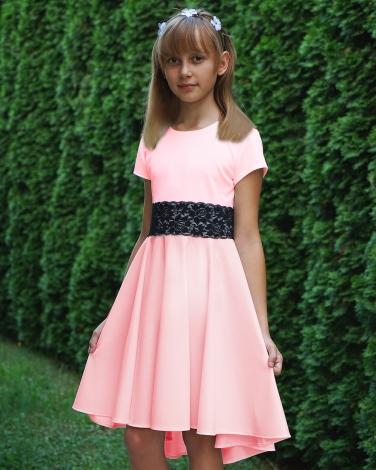 Sukienka z dłuzszym tyłem 140-164 Elwira pudrowy róż