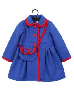 Flauszowy płaszczyk z torebką 86-134 Adella niebieska