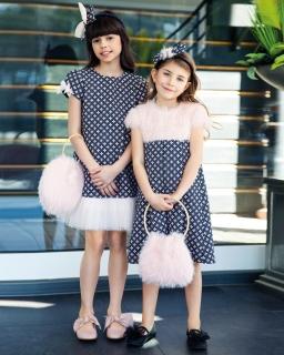 Sukienka z futerkiem 122-146 21/JSN Granatowo-różowa