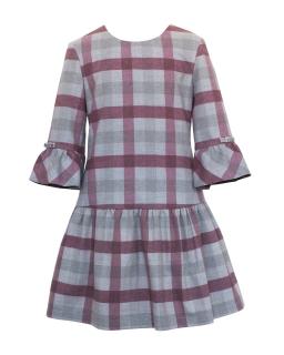 Dziewczęca sukienka w kratę 128-158 35A/J/18 różowo-szara