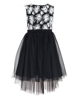 Sukienka w kwiaty z dłuższym tyłem 134-164 24/J/18 czarno-biała