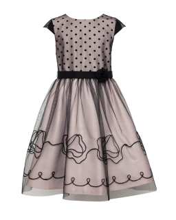 Wizytowa sukienka z haftem 122-146 20/J/18 czarno-różowa