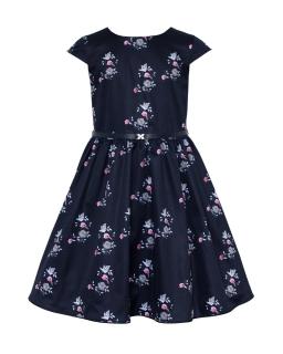 Sukienka w drukowane różyczki 128-158 16B/J/18 granatowo-różowa