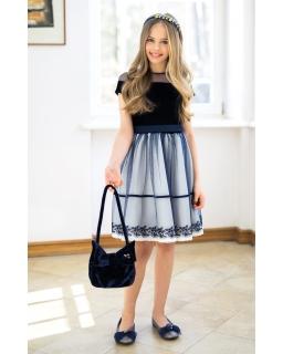 Sukienka z welurowym przodem 128-158 14/J/18 ecru plus granat