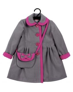 Ciepły płaszcz z flauszu z torebką dla dziewczynki