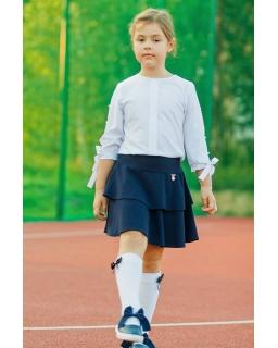 Granatowa spódnica z szerokim pasem i falbankami dla dziewczynki