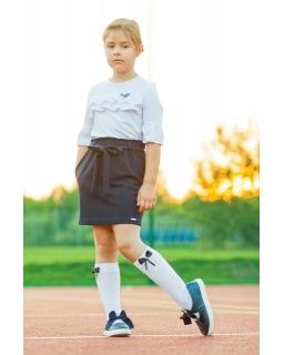 Granatowa spódnica z gumką i paskiem do szkoły dla dziewczynki