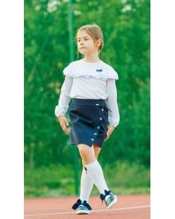 Spódnica z asymetryczną zakładką ozdobiona kółeczkami dla dziewczynki