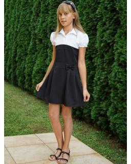Sukienka z koszulową górą i czarnym dołem do szkoły dla dziewczynki