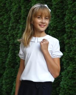 Biała klasyczna bluzeczka szkolna z kołnierzykiem