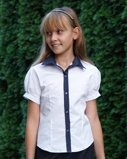 Koszula z granatowym kołnierzykiem i lamówką w groszki dla dziewczynki