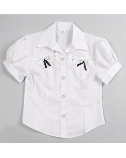 Koszula z krótkim rękawem i kokardkami na przodzie dla dziewczynki