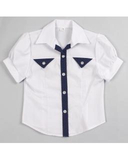 Szkolna koszula z krótkim rękawem i granatową lamówką dla dziewczynki
