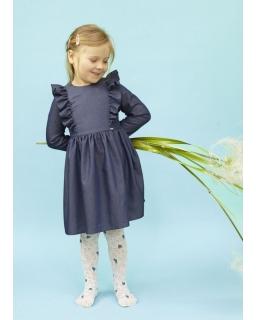 Sukienka z modną falbanką z cienkiej tkaniny jeansowej