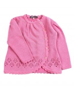 Różowy sweterek zapinany na guziki na boku dla dziewczynki