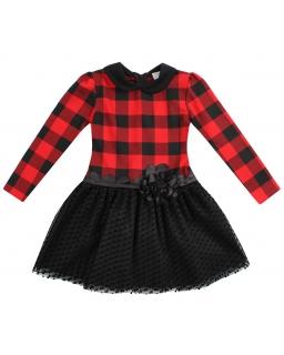 Sukienka w czerwoną kratkę z kołnierzykiem i tiulowym dołem