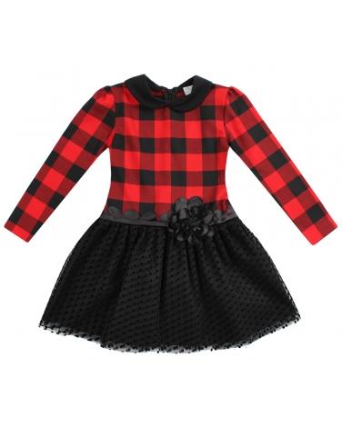 4ab35652cb Sukienka w czerwoną kratkę z kołnierzykiem i tiulowym dołem