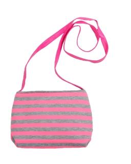 Materiałowa torebka w szaro-różowe prążki z długim paskiem