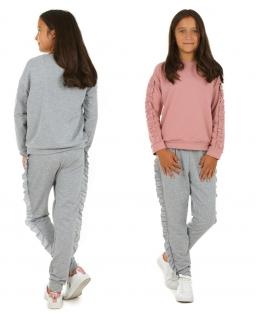 Spodnie dla dziewczynki bawełniane obszyte falbanką