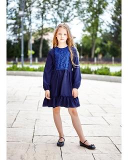 Sukienka z długim rękawem z koronką i falbaną na dole dla dziewczynki
