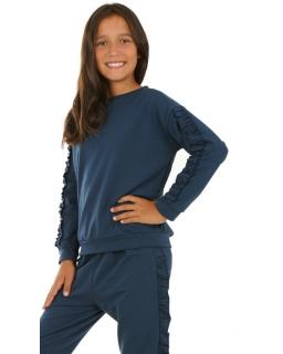 Bluza dla dziewczynki z długim rękawem ozdobionym falbanką