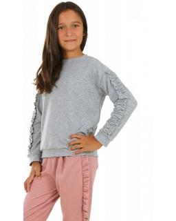 Sportowa bluza dla dziewczynki z długim rękawem zakładana przez głowę