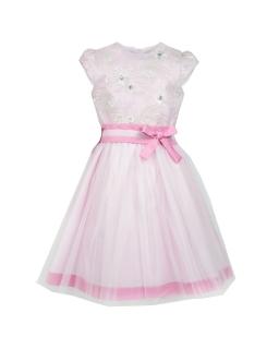 Sukienka dla dziewczynki z czterowarstwowym dołem i wyszywaną górą