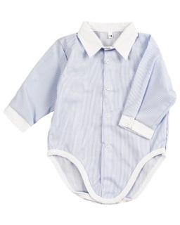 Body w formie koszuli w prążki z białym kołnierzykiem dla chłopczyka