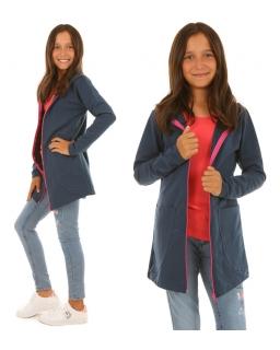 Bluza dla dziewczynki z długim rękawem i kapturem zasuwana na zamek