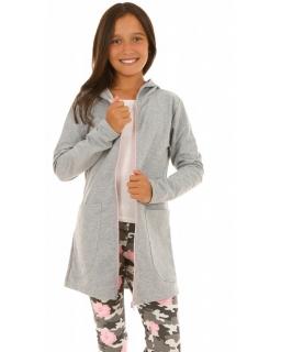 Dziewczęca dłuższa bluza z zamkiem długim rękawem i kapturem