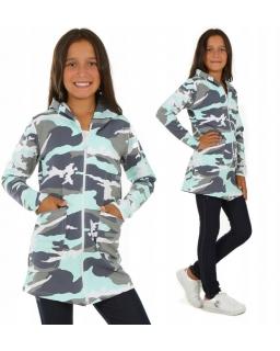 Dłuższa bluza dziewczęca moro z zamkiem długim rękawem i kapturem
