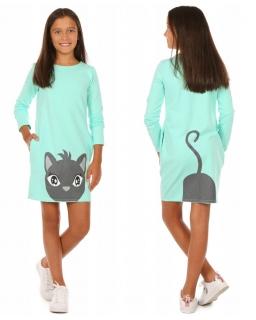 Sukienka dla dziewczynki w formie tuby z długim rękawem