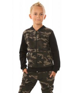 Bluza dla chłopca bejsbolówka z motywem moro zasuwana zamkiem