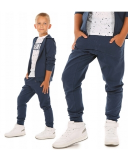 Sportowe dresowe spodnie dla chłopca z kangurkowymi kieszeniami