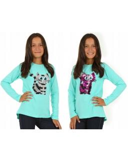 Bluza dla dziewczynki z długim rękawem i dwustronnymi cekinami