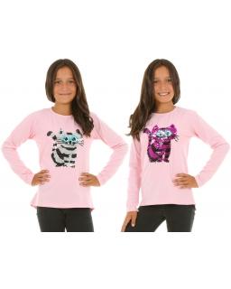 Bluzka z długim rękawem i cekinami zmieniającymi kolor dla dziewczynki