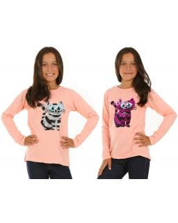 Bluzka dla dziewczynki do szkoły z długim rękawem i cekinową aplikacją
