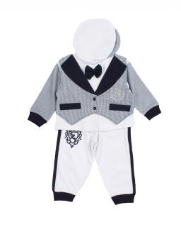 Komplet spodnie bluzka i czapka biało-granatowy dla chłopca do chrztu