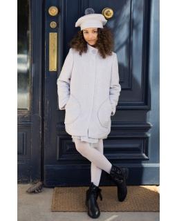 Płaszcz o klasycznym luźnym kroju z dodatkiem wełny dla dziewczynki