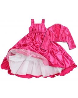 Długa sukienka z tiulową podszewką 116-146 Fiesta fuksja