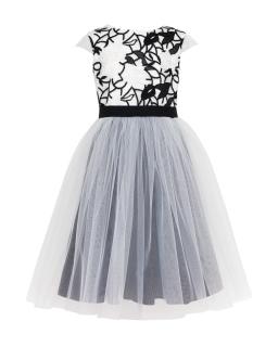 Sukienka z koronkową górą 128-158 23/J/18 Kremowo-czarna
