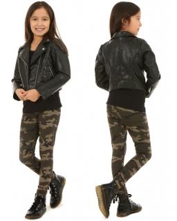Dziewczęce legginsy w stylu militarnym 116-158 KRP07 zielone moro