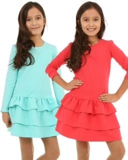 Bawełniane sukienki dziewczęce 116-158 KR104 Trzy kolory