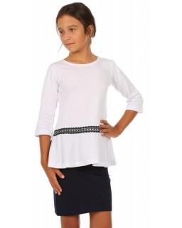 Bluzka dla dziewczynki do szkoły z rękawem o długości 3/4 i baskinką