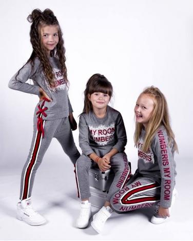 Dresowy komplet bluza i spodnie z lamówką dla dziewczynki