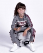 Dresowy komplet bluza i spodnie z lamówką dla dziewczynki przód
