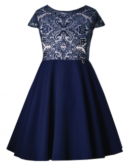 Sukienka z haftowaną górą i rozkloszowanym dołem dla dziewczynki przód