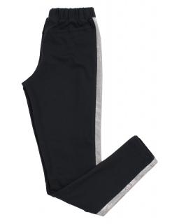 Legginsy w czarnym kolorze z błyszczącym paskiem dla dziewczynki
